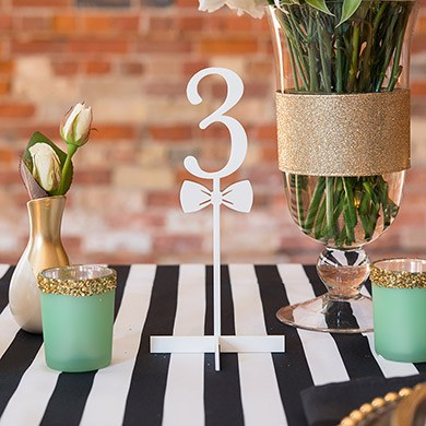 White Bow Tie Table Number