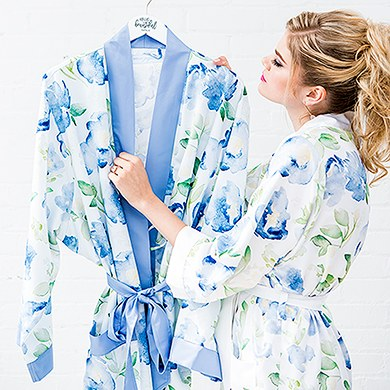 Blue Watercolor Floral Silky Kimono Robe On Blue - Relaxed Fit