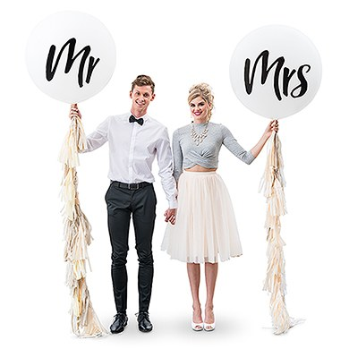 Jumbo White Round Wedding Balloon Decorations - Mr