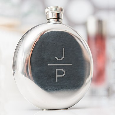 Polished Round  Flask   Stacked Monogram Etching
