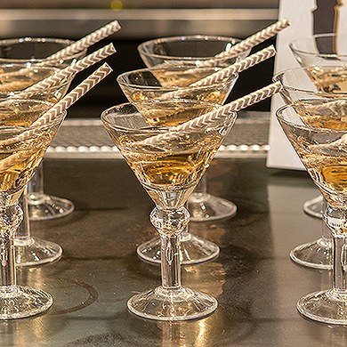 mini martini wedding reception glasses