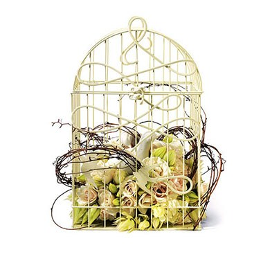 birds in flight decorative wedding birdcage - ivory