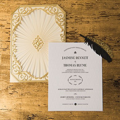 Art Deco Laser Embossed Inviations with Personalization