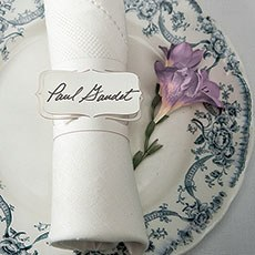 Laser Expressions Bracketed Place Card Napkin Ring - White