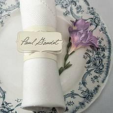 Laser Expressions Bracketed Place Card Napkin Ring - Ivory