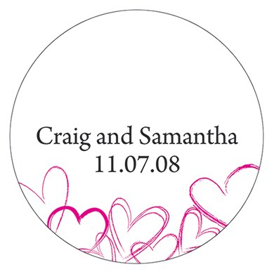 Contemporary Hearts Small Wedding Favor Sticker
