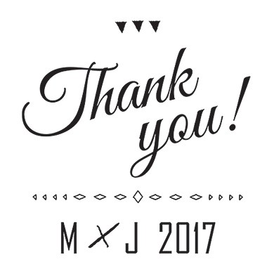Free Spirit Personalized Thank You Rubber Stamp