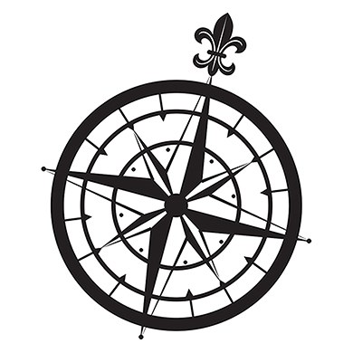 Vintage Travel Compass Rubber Stamp
