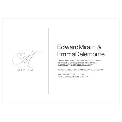 Monogram Simplicity Invitation   Elegant