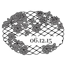 Floral Lace Personalized Rubber Stamp