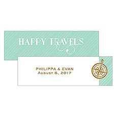Vintage Travel Small Rectangular Favor Tag - Happy Travels