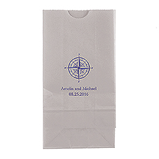 Vintage Travel Compass Block Bottom Gusset Paper Goodie Bags