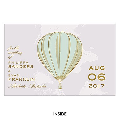 Vintage Travel Save The Date Card With Fold