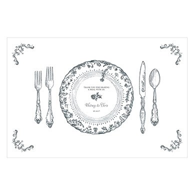 Antique Chic Pesronalized Paper Place Mat    Table Setting