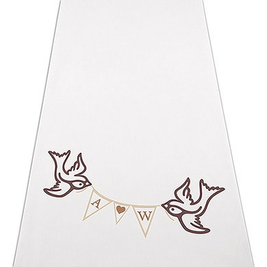 Birds with Love Pennant Personalized Wedding Aisle Runner