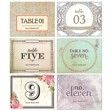 Vintage Medley Table Number Set