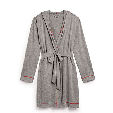 Saturday Hooded Lounge Robe Gray With Red Stitching