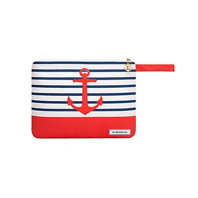 Canvas Wet Bikini Bag Red Anchor