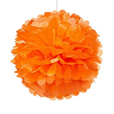 Small Paper Pom Pom Orange
