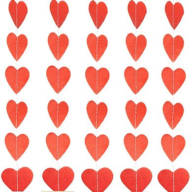 Mini Paper Heart Banner Red