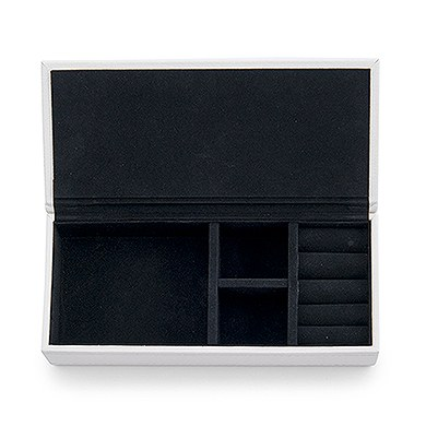 Vegan Leather Jewelry Box White with Black