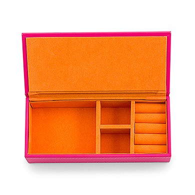 Vegan Leather Jewelry Box Pink with Orange
