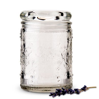 Pressed Glass Vintage Mason Jar with Stopper   Miniature