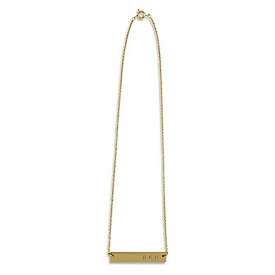 Horizontal Rectangle Tag Necklace   Matte Gold