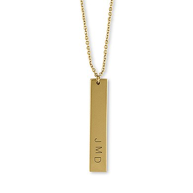 Vertical Rectangle Tag Necklace   Matte Gold