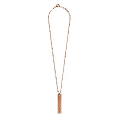 Vertical Rectangle Tag Necklace   Rose Gold