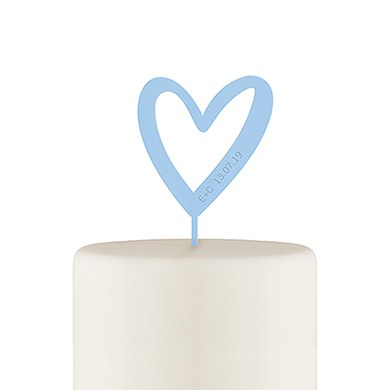 Personalized Mod Heart Acrylic Cake Topper - Pastel Blue