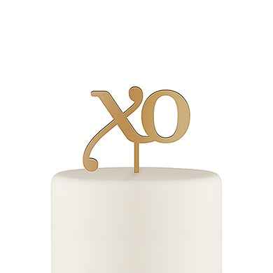 XO Acrylic Cake Topper - Metallic Gold