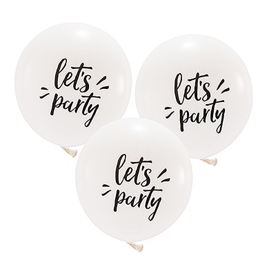 Large White Round Wedding or Party Balloons - Let's Party