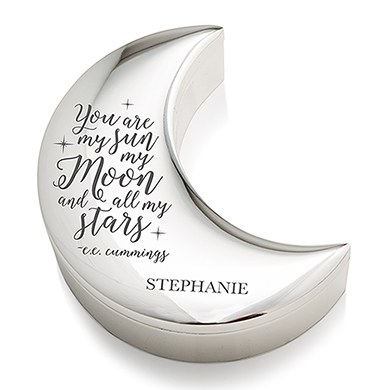 Personalized Silver Half Moon Jewelry Box - My Sun Moon and Stars Etching