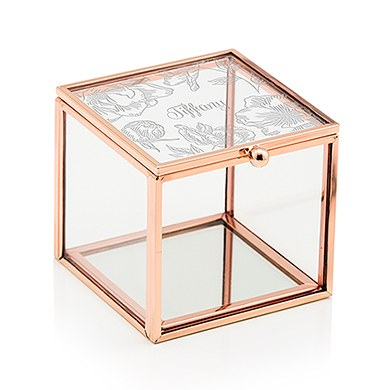 Small Glass Jewelry Box with Rose Gold Edges - Modern Floral Etching