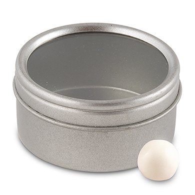 Round Wedding Favor Tin Container with Clear Top Lids