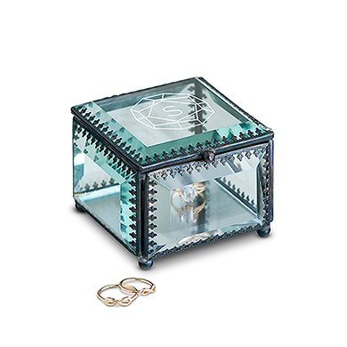 Vintage Inspired Glass Jewelry Box - Monogram Gem Etching