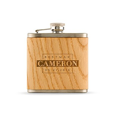 Wood Wrapped Flask Best Man Block Etching