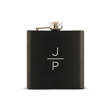 Black Coated Flask   Stacked Monogram Etching