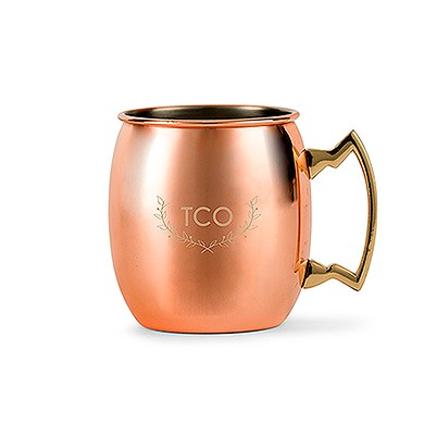 Personalized Copper Moscow Mule Mug - Woodland Monogram
