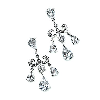 Cubic Zirconia Crest with Pears Bridal Earrings Accessory in Silver