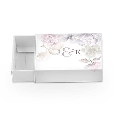 White Drawer-Style Favor Box with Floral Dreams Wrap