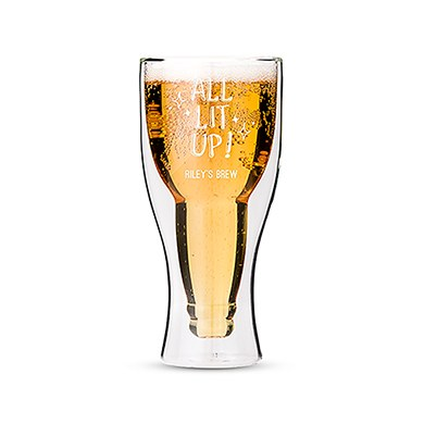 Double Walled Beer Glass - All Lit Up! Printing