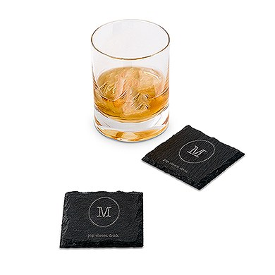 Set of Square Slate Coasters - Typewriter Monogram Etching