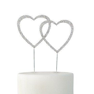 Crystal Rhinestone Double Heart Cake Topper - Silver