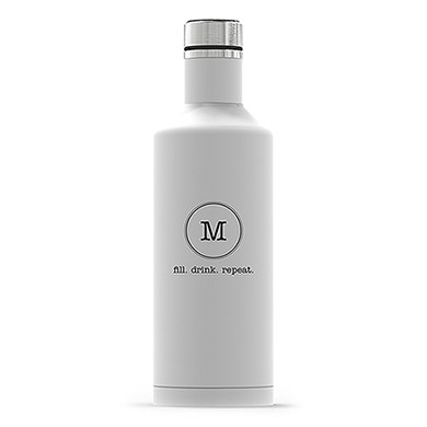 Times Square Travel Bottle - Matte White - Typewriter Monogram Printing