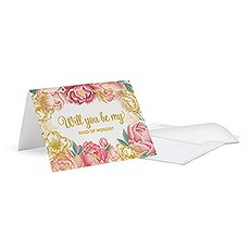 """Modern Floral """"Bridesmaid Ask"""" Card With Fold"""