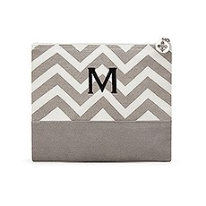 Chevron Cosmetic Bag - Gray
