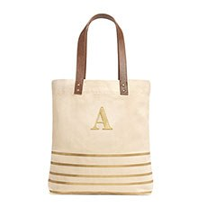 Annie Stripe Tote - Metallic Gold