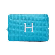 Large Cotton Waffle Cosmetic Bag - Turquoise